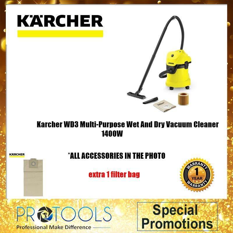 Karcher WD3 Multi-Purpose Wet And Dry Vacuum Cleaner  /SET 1 /SET2 +5PCS KARCHER FILTER BAG + STANLEY TEST PEN + COTTON GLOVE