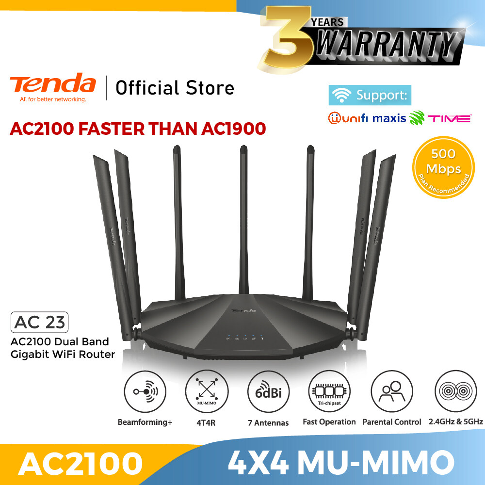 Tenda AC23 AC2100 Dual Band Gigabit WiFi Router Modem -Malaysia Version-100% Authentic- 6*7dBi AntennasWireless Internet Router for Home 4X4 MU-MIMO TechnologyMaxis CelcomUnifiTM Router