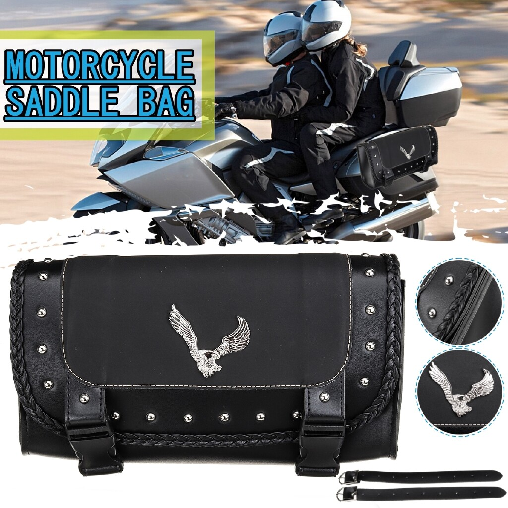 Motorcycles, Parts & Accessories - Black PU Leather Motorcycle Tool Bag Luggage Saddle Bag Wear Imitation Scratches. - Automotive
