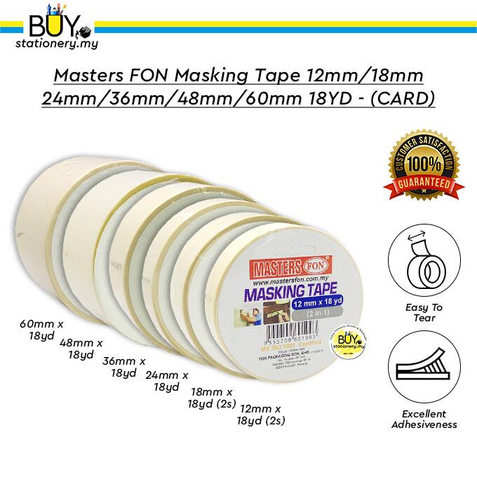 Masters FON Masking Tape 12mm/18mm/24mm/36mm/48mm/60mm 18YD - (CARD)