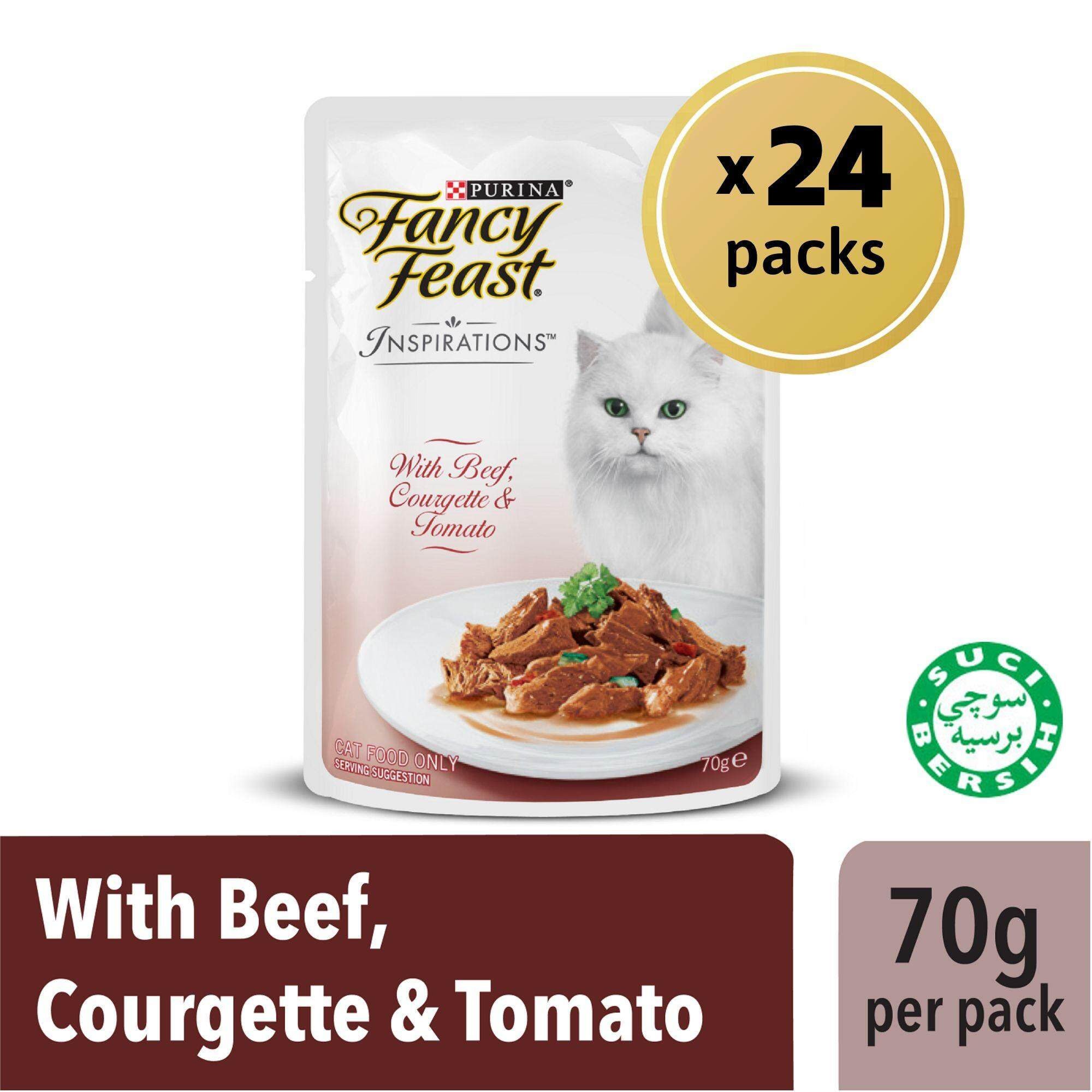 Fancy Feast Inspirations Beef Courgette & Tomato Wet Cat Food Box (24 x 70g)