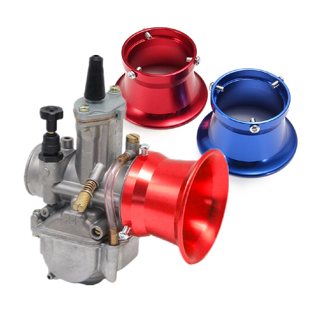 Moto Accessories - 50mm Air Filter Interface Cup Aluminium Fits 24/26/28/30mm Motorcycle Carburetor colorfulcc17 - BLUE / RED