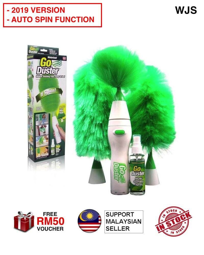 (AUTO-SPIN) WJS 2019 VERSION Go Duster Feather Duster Power Duster Multifunctional Motorized Dust Cleaner Tools Powered Operated Cleaning Dust Brushes Powered GREEN [FREE RM 50 VOUCHER]