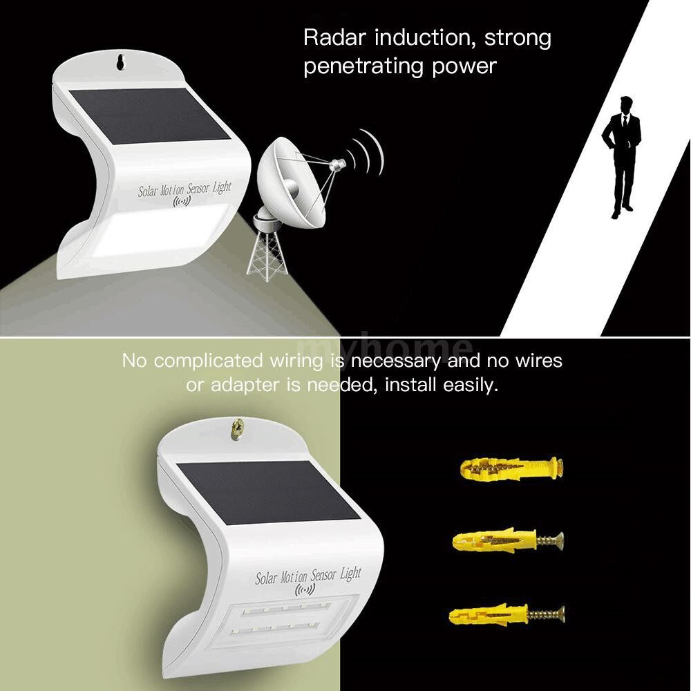 Outdoor Lighting - Solar Powered LED Radar Motion Smart Sensor Light with Wide Illumination Angle Rechargeable SMD - 3W