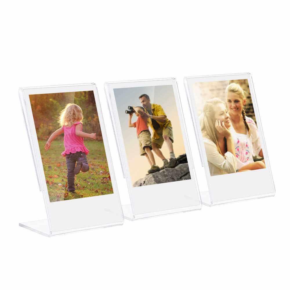 "Andoer 3"" L-shape Acrylic Photo Frame Transparent Mini Stand for Fujifilm Instax Mini 8 8+ 70 7s 90 25 26 50s 9 SP-1 SP-2 Film, 3-Pack (1)"