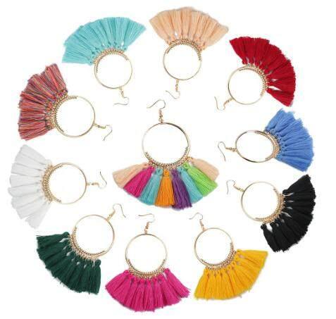 Tassel Fashion Bohemian Earrings Long Tassel Fringe Boho Dangle Jewelry Gift