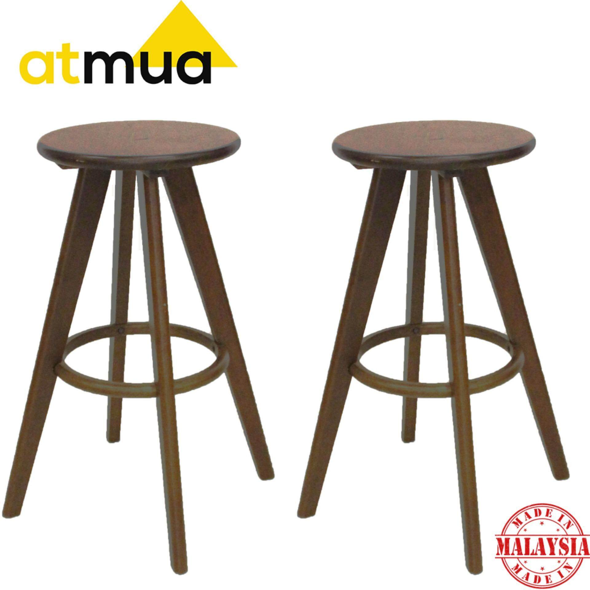 Surprising Atmua Jonathan Solid Wood Bar Stool Height 70Cm 30 Inch Solid Rubber Wood 2 Unit Theyellowbook Wood Chair Design Ideas Theyellowbookinfo