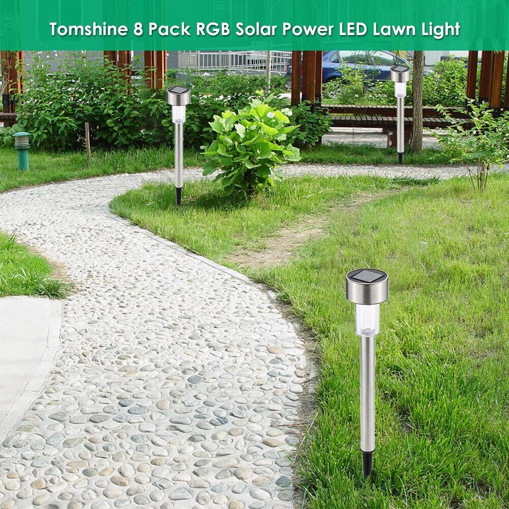 Outdoor Lighting - Solar Powered LED Lawn Light Stainless Steel Garden Landscape Lamp with Inserting Pole for Outdoor - MULTICOLOR & 1 PIECE(s) / WARM WHITE & 1 PIECE(s) / WHITE & 1 PIECE(s)