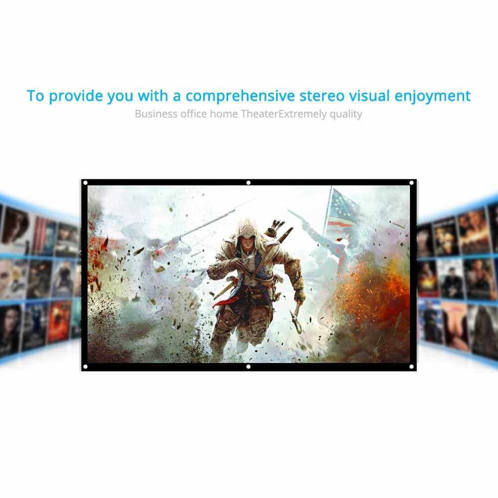 H70 70'' Portable Projector Screen HD 16:9 White 70 Inch Diagonal Projection Screen Foldable Home Theater for Wall Projection Indoors Outdoors (Standard)