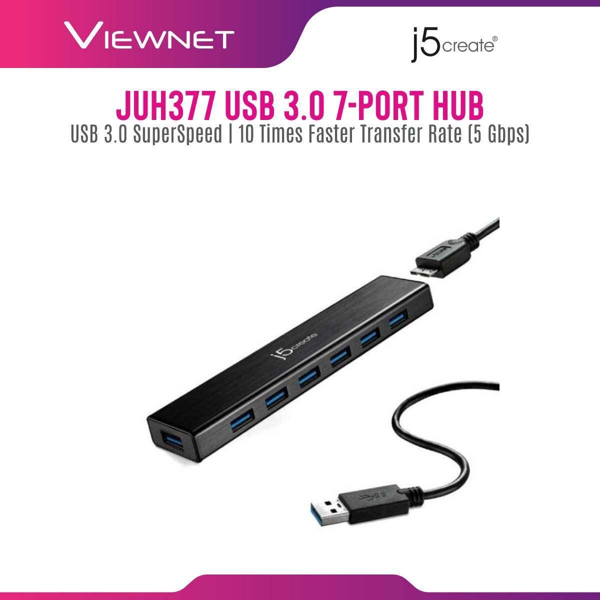 J5 Create JUH377-10 7-Port USB 3.0 With Type-C & Power Adapter USB Hub