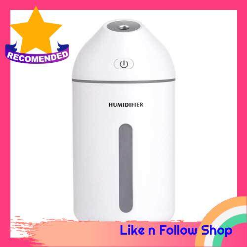 Portable Ultrasonic Humidifier 320ML USB Power Air Diffuser With Romantic Warm Night Lamp for Auto Household (White)