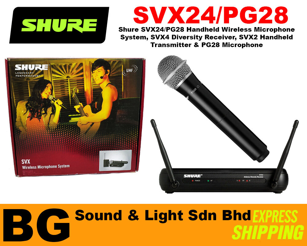 [SHIP OUT EVERYDAY]Shure SVX24/PG28 Handheld Wireless Microphone System SVX4 Diversity Receiver PG28 Microphone