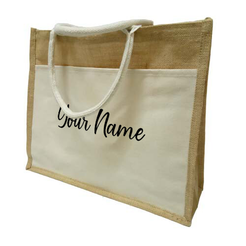 MyUnique Jute Bag with Canvas Front Pocket with Name GP236 (Natural)
