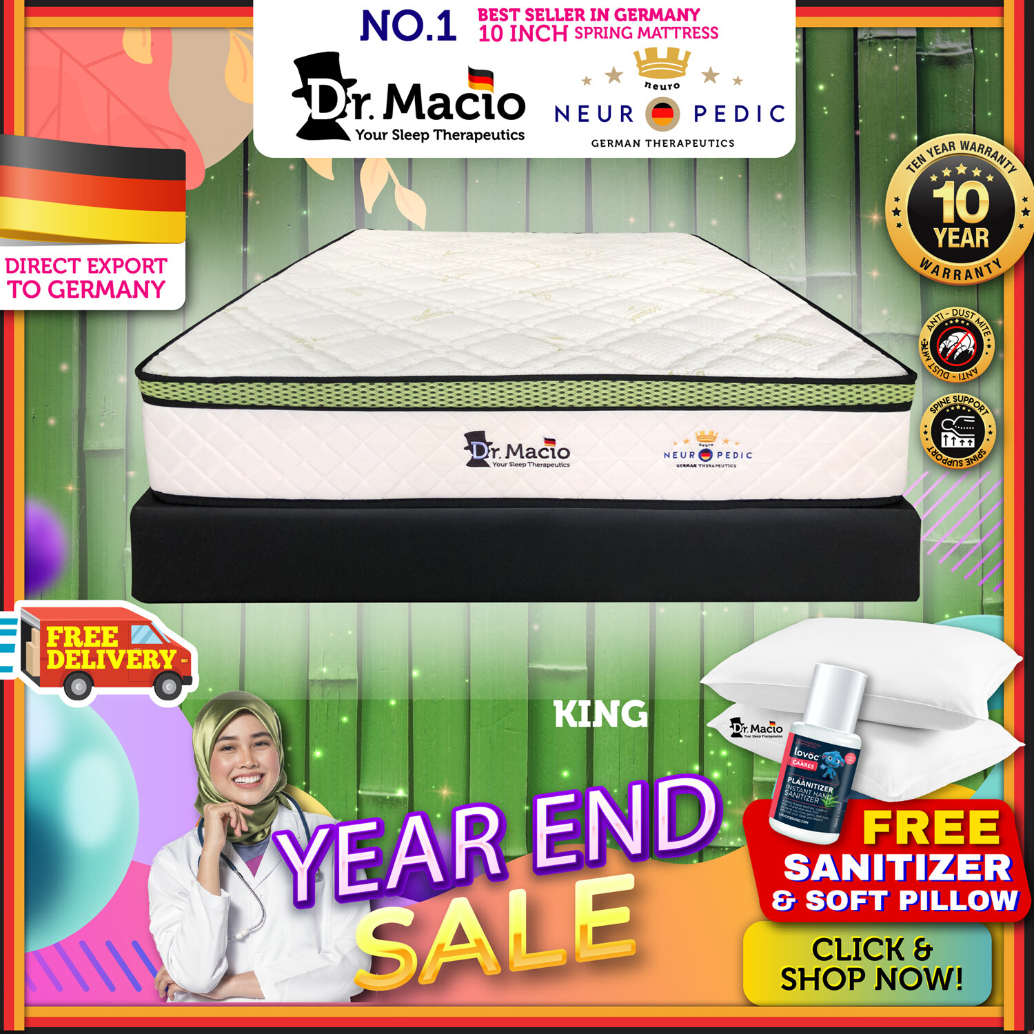 [ Free Shipping ] Dr Macio Neuropedic  (Single) (Super Single) (Queen) (King) Mattress Ready Stock / Tilam Dr Macio 10 years warranty anti dustmite FREE pillow [ Fast Delivery ] [ Deliver in CMCO ]