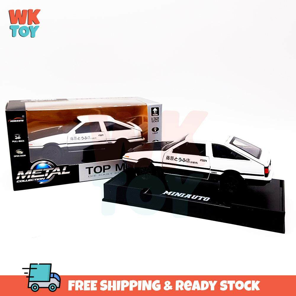 WKTOY Initial D Toyota Ae86 Trueno Alloy 1:32 Die Cast Model with Light & Sound Pull Back Car Gift