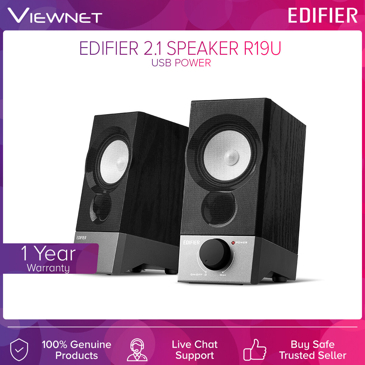 Edifier 2.1 Speaker R19U with USB Direct Power, Aux Connection, Angled Design