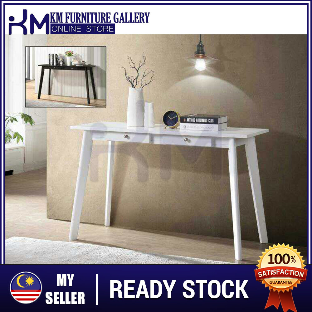KM Furniture Gallery Console Table With 2 Drawer (Hf1240) White KMHF1240W
