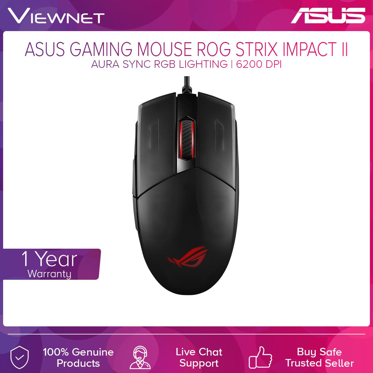 Asus ROG Strix Impact II Gaming Mouse with Ambidextrous, Ergonomic Design, 6,200 DPI Optical Sensor, Lightweight Design and Aura Sync RGB Lighting