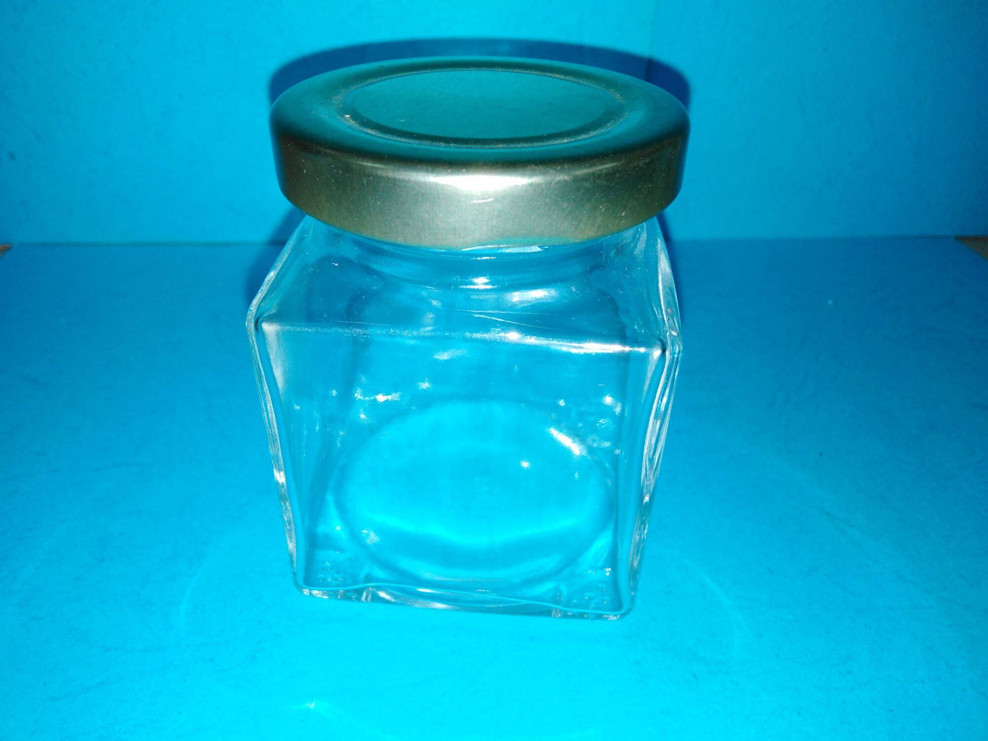 14pc of 120ml square glass jar with golden metal cap