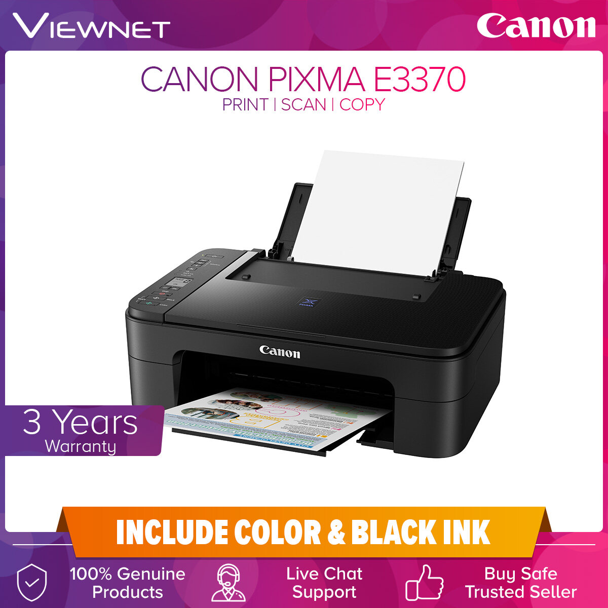 Canon PIXMA E3370 Compact Wireless All-In-One with LCD for Low-Cost Printing Print Scan Copy Wireless Print