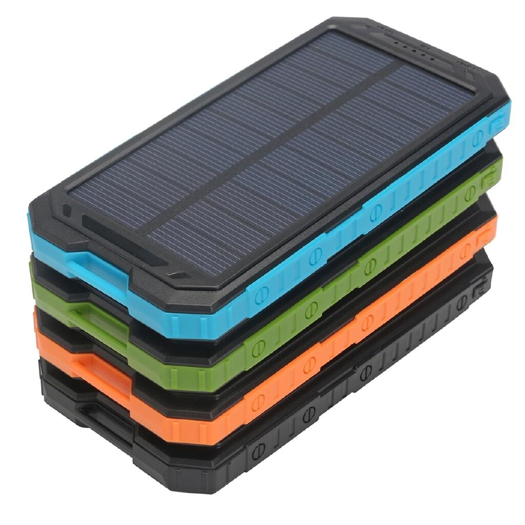 Chargers - Waterproof 550000mAh Power Bank 2 USB Solar Charger Case + LED No Battery DIY - GREEN / BLUE / DARK ORANGE / BLACK