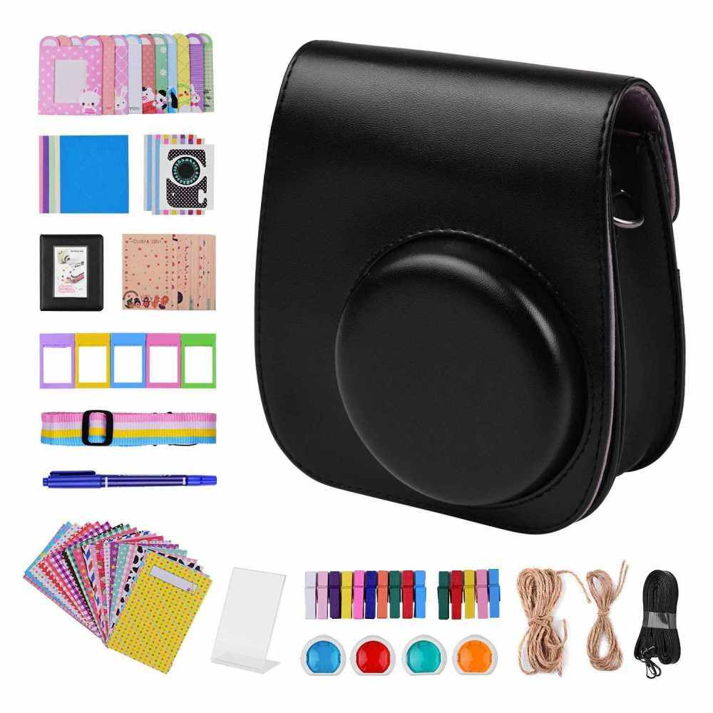 12-in-1 Instant Camera Accessories Bundle Kit Compatible with Fujifilm Instax Mini 11 Including Camera Bag/Camera Strap/Photo Album/Photo Clips/Photo Frame/Hanging String/Stickers/Pen/Filters (Black)