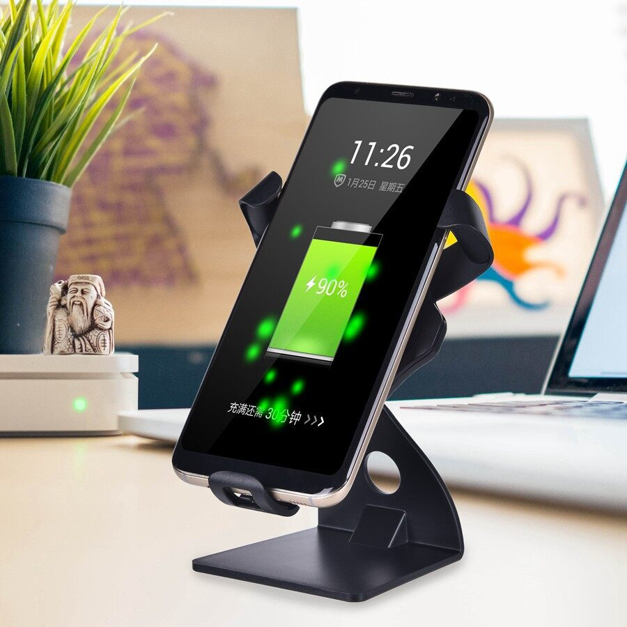 Chargers - Qi WIRELESS Fast Charger Magnetic Car Air Vent Mount Desktop Holder - GREY / BLACK
