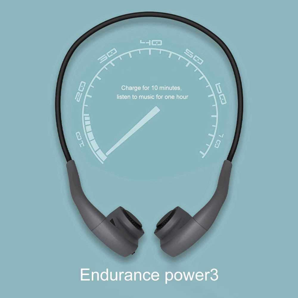 Bone Conduction Headphones Bluetooth 5.0 Headset IP55 Waterproof Sport Running Earphone Hands-free with Mic (Grey)