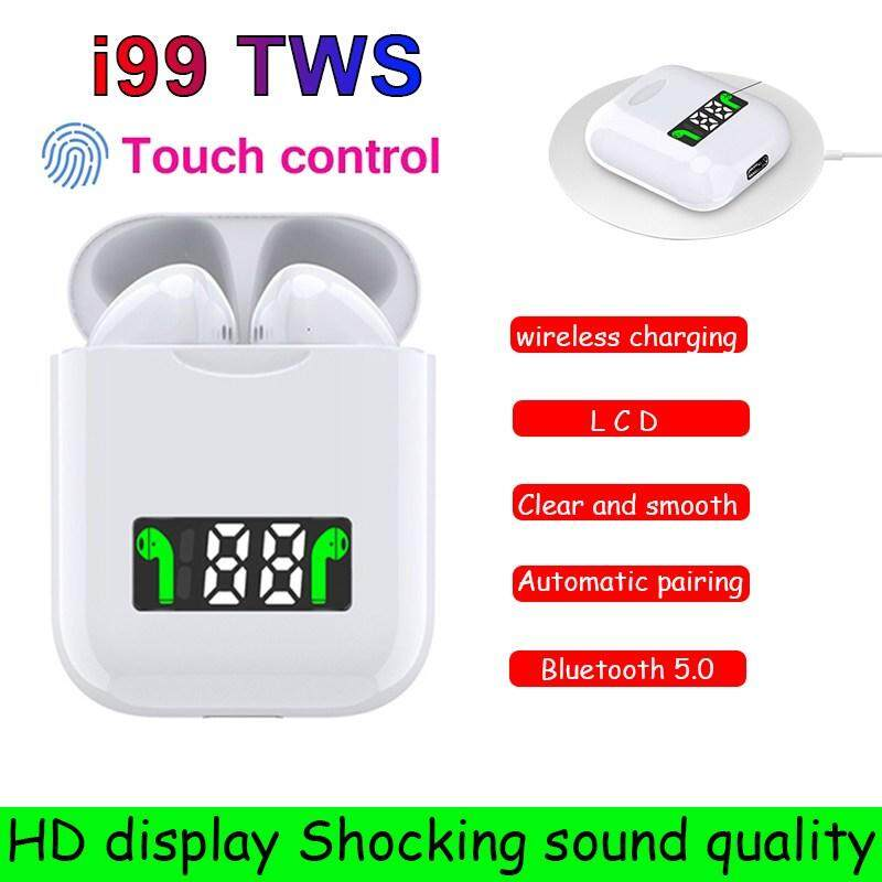 i99 TWS Wireless Bluetooth 5.0 Earphone ED Digital Power Display Headphones Pop-up Wireless Charging Headset 6D Noise Reduction Earbuds