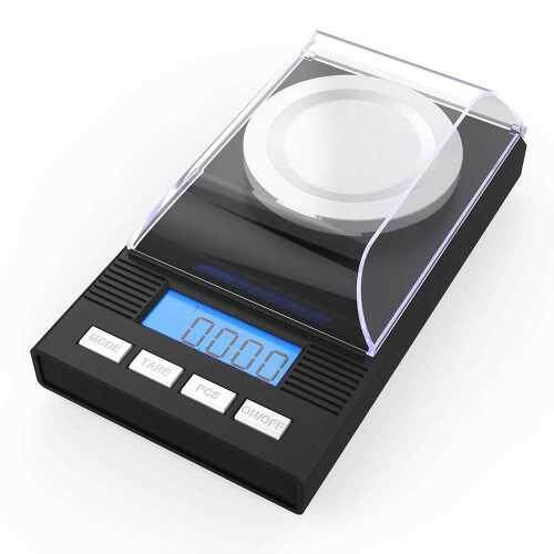 (nr)Homgeek High Precision Professional Digital Milligram Scale 50g/0.001g Mini Electronic Balance Powder Scale Black Gold Jewelry Carat Scale Digital Weight with Calibration Weight Tweezer and Weighing Pan