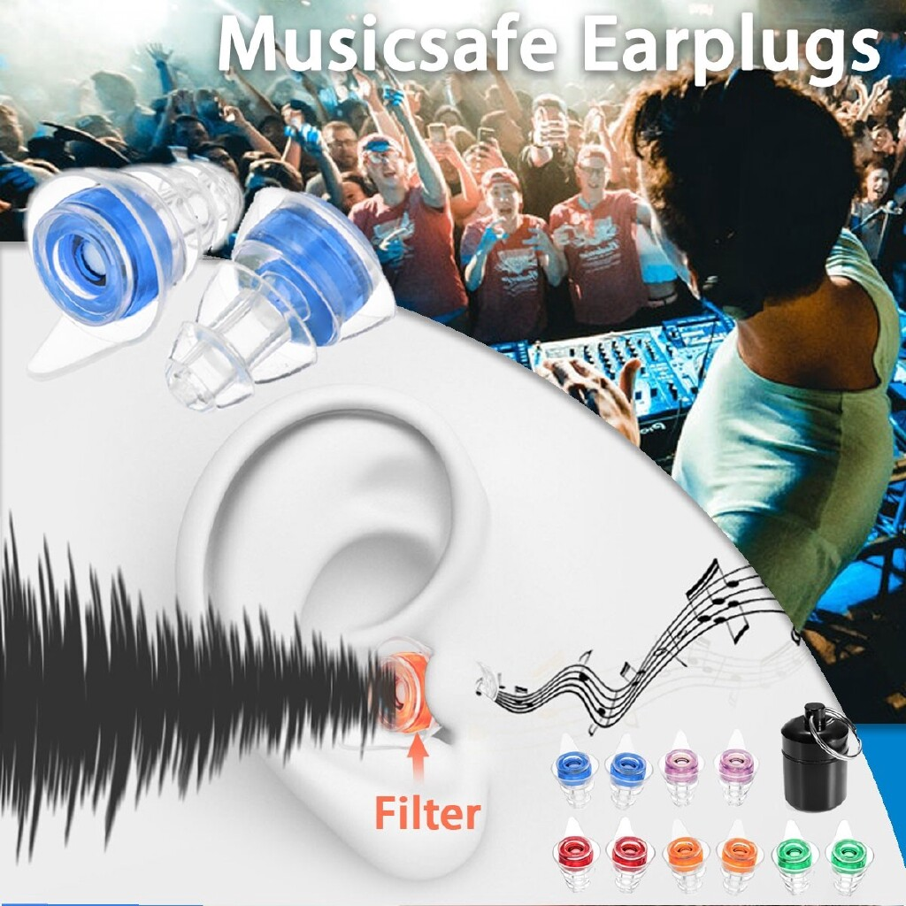 Mobile Audio Earbuds - 21DB Noise Cancelling Earplugs Shooting Musicians Motorcycles Hearing Protection - RED / PURPLE / BLUE / GREEN / ORANGE