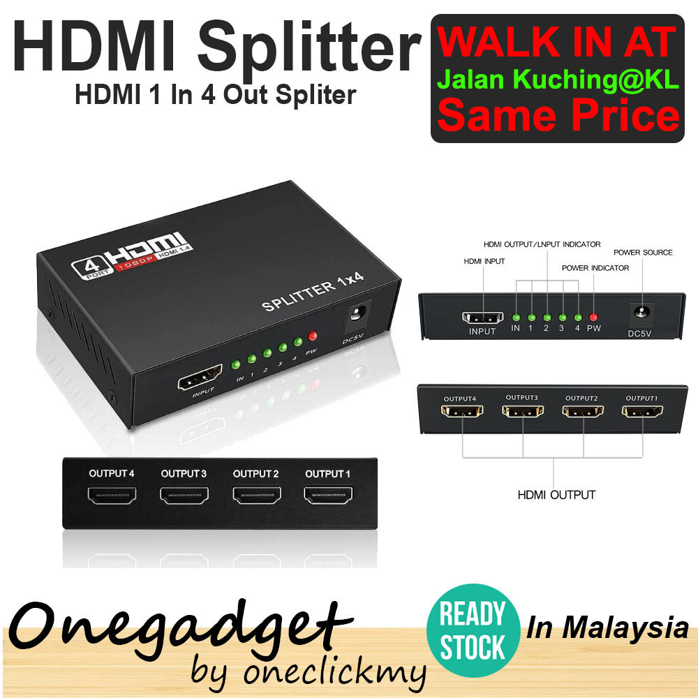[?READY STOCK?]HDMI SPLITTER 1 IN 4 OUT FULL HD Support HDCP