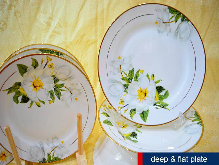 Golden Lily Fine Porcelain 28 Pcs Round Dinnerware Plate Set Green + Flower + White + Golden