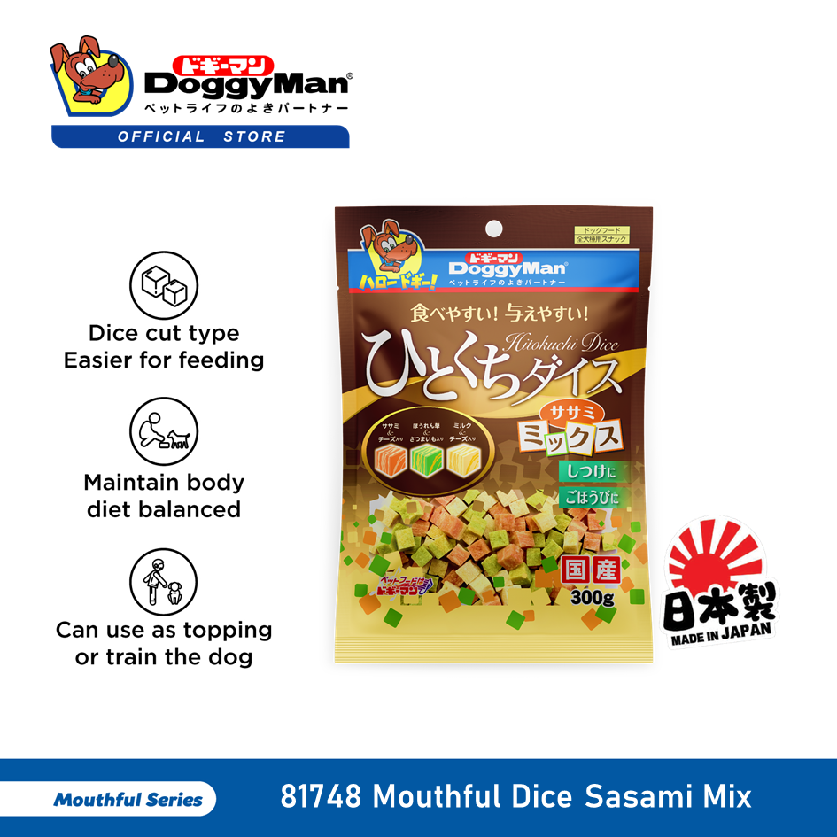 DoggyMan Mouthful Dice Sasami Mix 300G [Dog Treat Snack Snek Anjing]