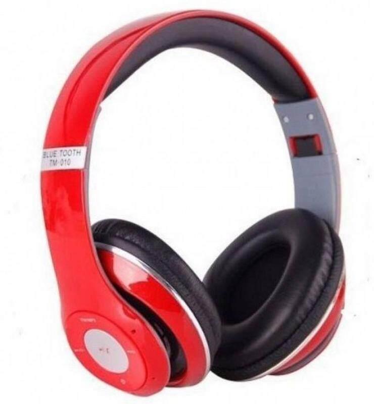 STEREO HEADPHONES WIRELESS TM-13S MP3/HEADSET RED