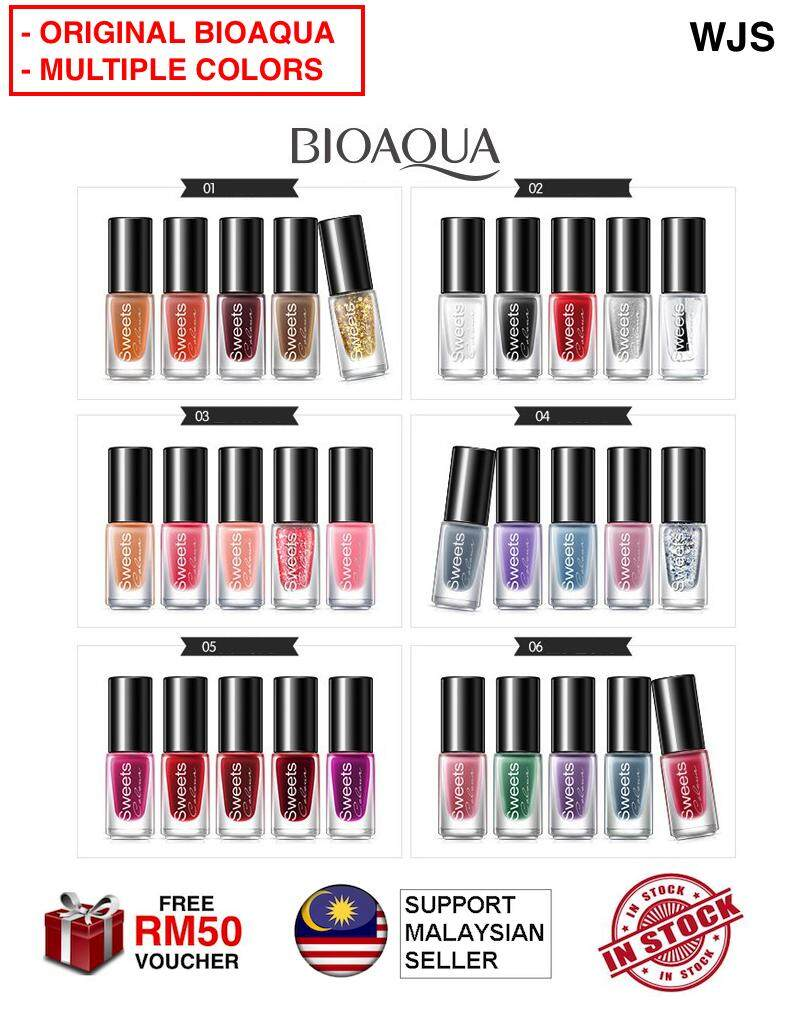 (MULTIPLE COLOR OPTIONS) WJS 5pcs 5 pcs  BioAqua 5 in 1 Nail Color Peel Off Watery Bioaqua Nail Polish Art Manicure Pedicure Mani Pedi Fingernail Toenail Nail Colour Set 5ml x 5 [FREE RM 50 VOUCHER]