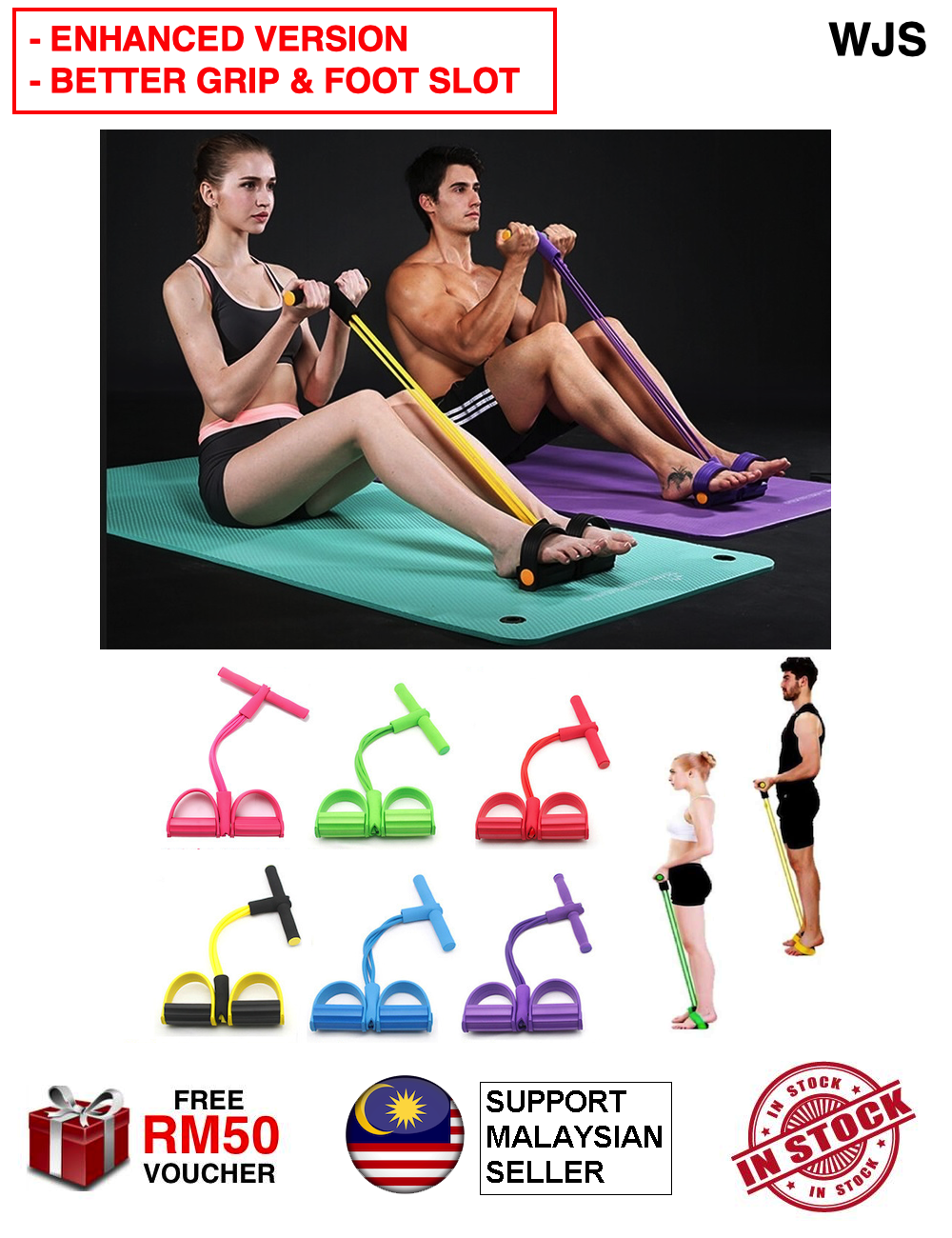 (ENHANCED VERSION) WJS Gym Fitness Yoga Sit-up Equipment Pull Up Rope Elastic Band Pullup Sit Up Home Gym Exercise Workout Pilate Cardio Fitness MULTICOLOR [FREE RM 50 VOUCHER]