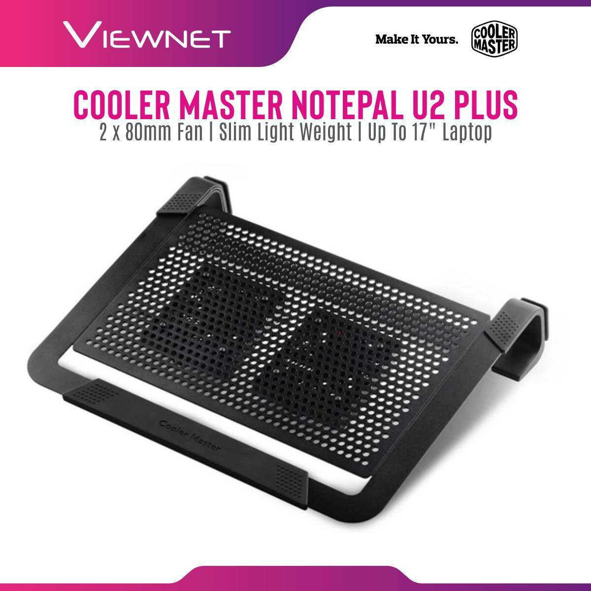 Cooler Master Notepal U2 PLUS 2 x 80mm Fan Slim Light Weight Portable Mesh USB 2.0 Notebook Cooler for up to 17