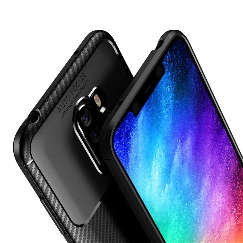 iPh Soft Cover - Carbon Fiber Back Cover Protective Case for Xiaomi Pocophone F1 - BLACK / BROWN / BLUE