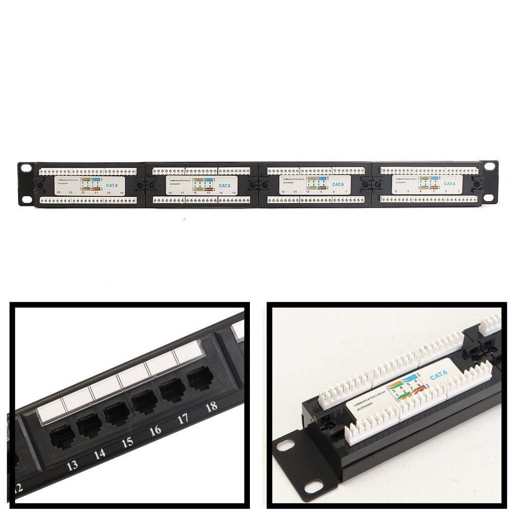 Cool Gadgets - Black CAT6 RJ45 Network Ethernet Rack Mount 24 Port 1U 1RU One Space - Mobile & Accessories