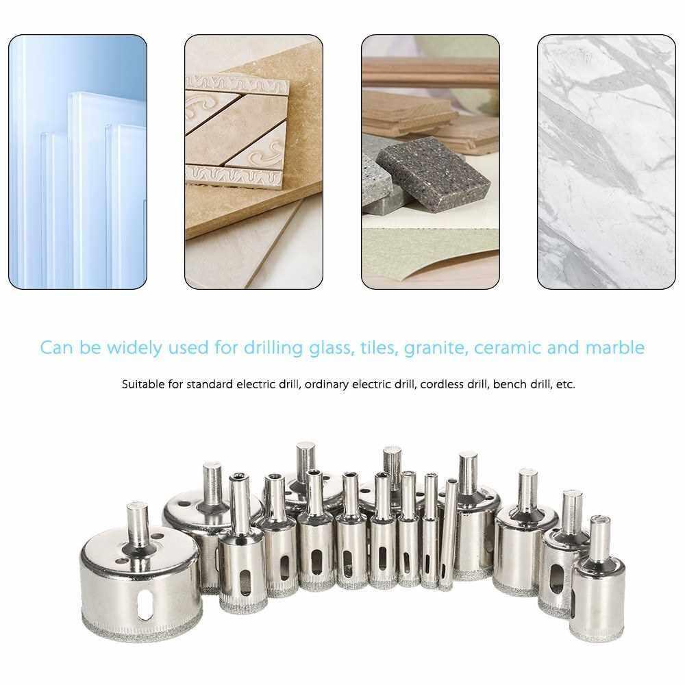 People's Choice 16PCS 6-50mm Glass Hole Saw Kit Diamond Coated Core Hole Saw Marble Drill Bit Tile Ceramic Glass Porcelain (Standard)