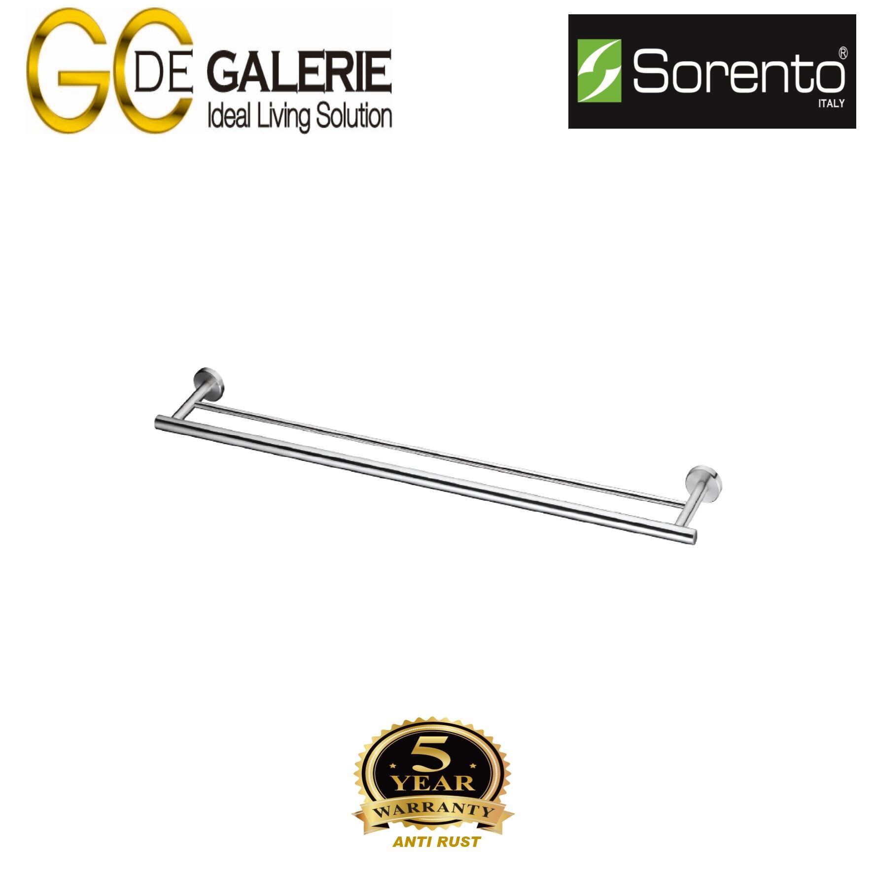 Sorento SRT2313-HP Bathroom/ Toilet Stainless Steel 304 Towel Bar- Double