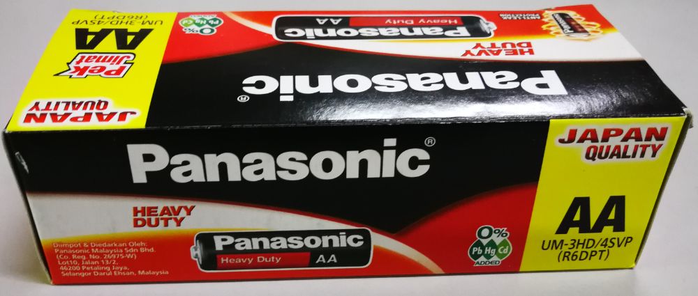 Panasonic Heavy Duty 1.5V AA Size Battery Anti-Leak Protection (Boxes)