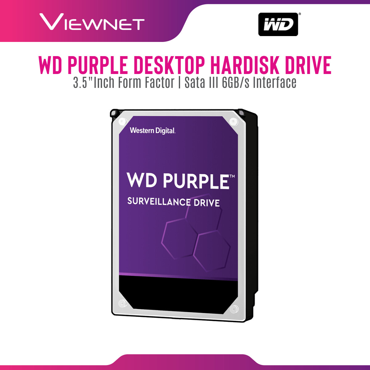 WD Western Digital Purple Surveillance Hard Drive 1TB / 2TB / 3TB / 4TB / 6TB / 8TB 3.5  CCTV HDD hard disk Internal Hard Disk