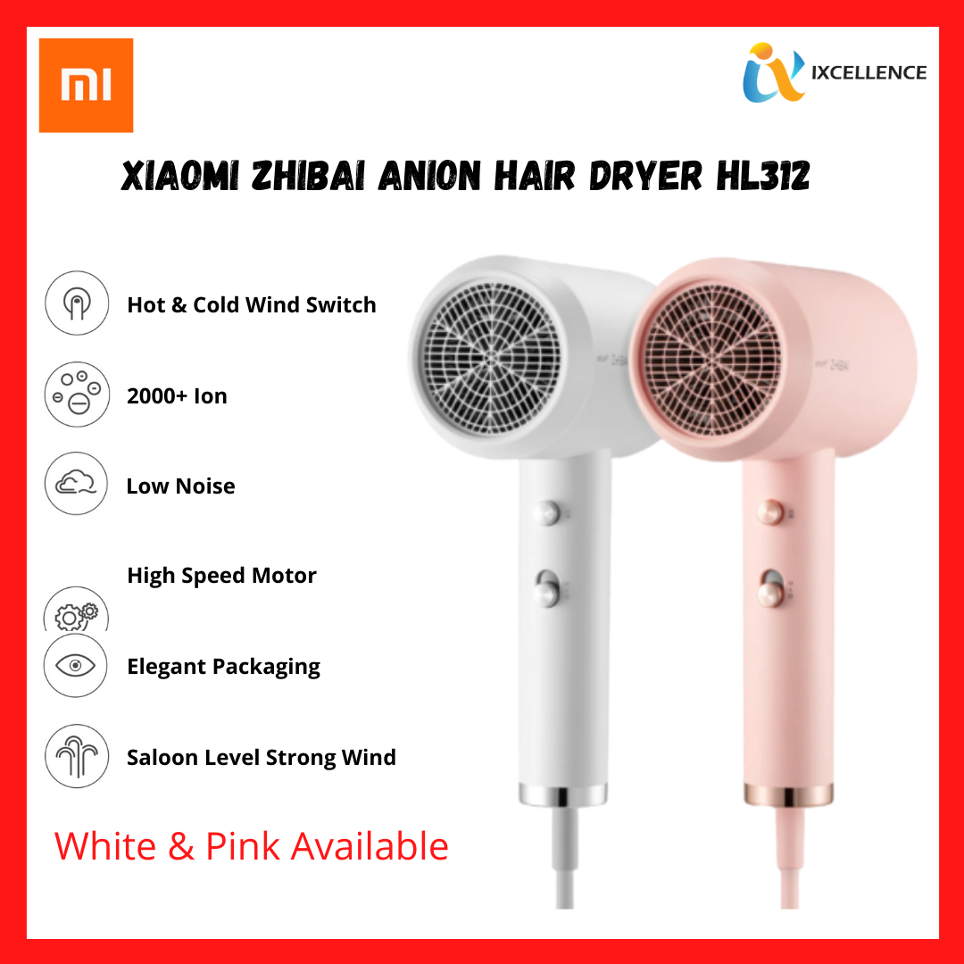 [IX] Xiaomi Mi Home ZHIBAI Anion Hair Dryer 1800W Portable 2 Speed Temperature HL312