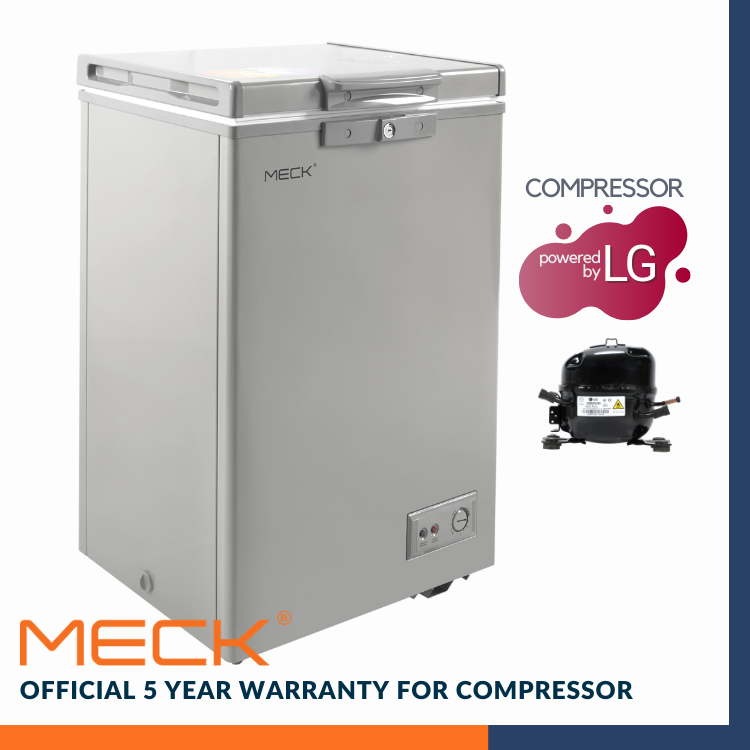 MECK Chest Freezer Grey 100L (LG Compresso Single Door ) MFZ-80GR
