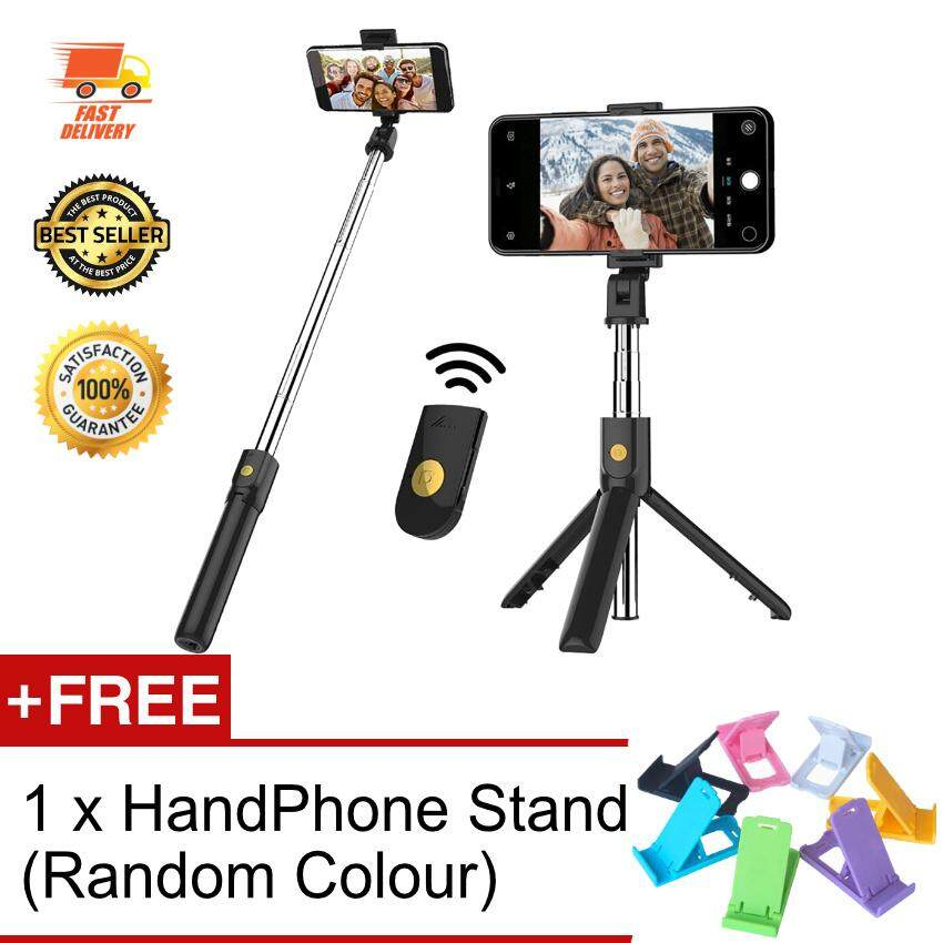 New 2019 Portable 3 in 1 Bluetooth Wireless Selfie Stick Monopod Extendable with Tripod for IOS / Android
