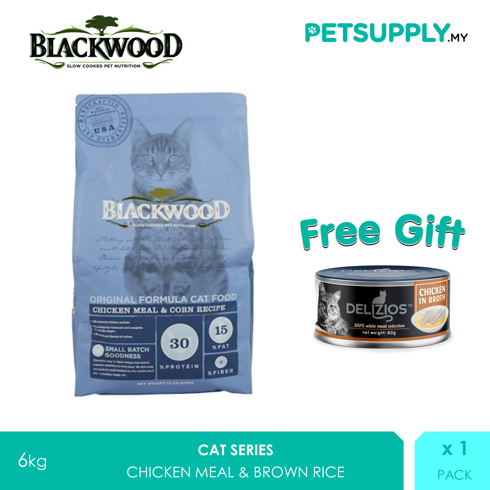 Buy 1 Free 2! Blackwood Original Formula Cat Food Chicken Meal & Brown Rice Recipe 6kg [makanan kucing - Petsupply.my]