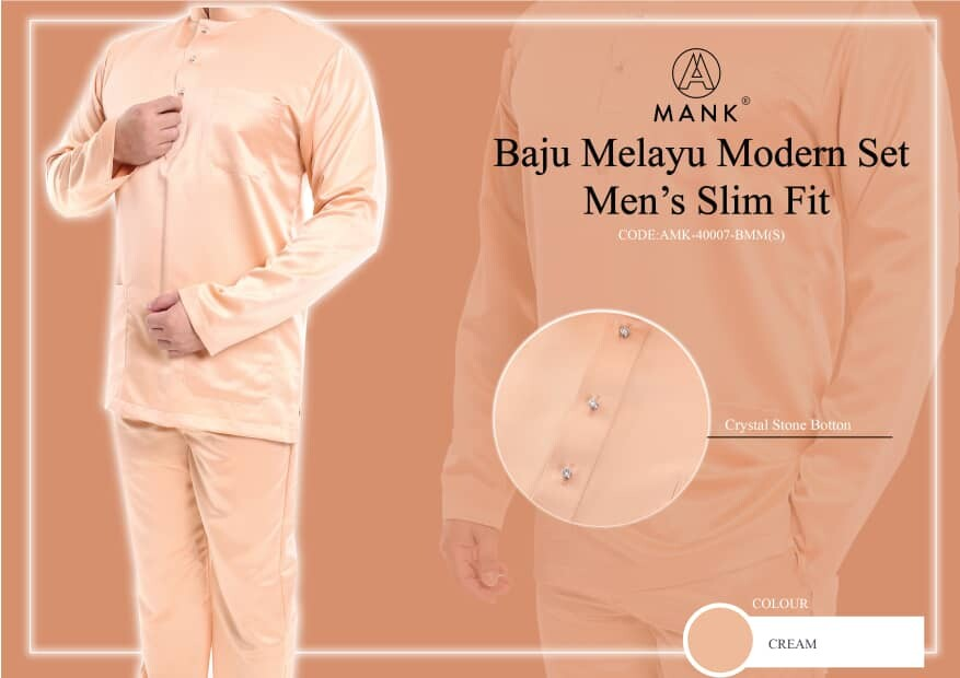 MEN'S BAJU MELAYU SET BY BRAND A MANK - SLIM FIT (MODERN STYLE) 2020 HOT SELLING { lIMITED STOCK } AVAILABLE