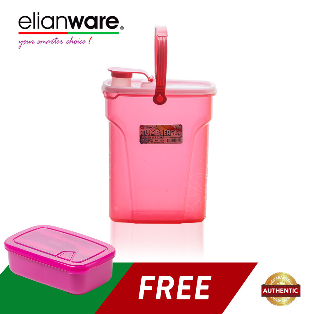 Elianware Pink 2.5 Ltr Easy Carry Water Tumbler FREE 1.3 Ltr Lunch Box with Fork & Spoon